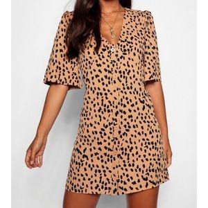 NWT Size 0 Dalmatian Print Button Shift Dress